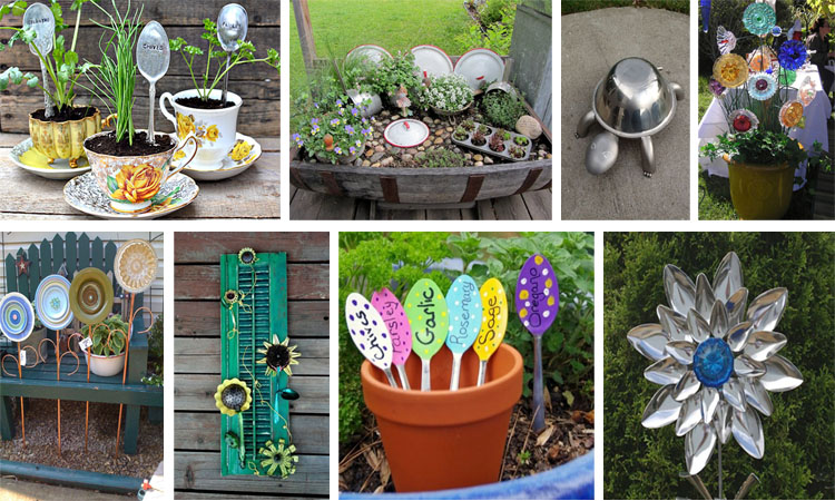 17 ideas originales para decorar el jardin con utensilios for Cosas para decorar el jardin