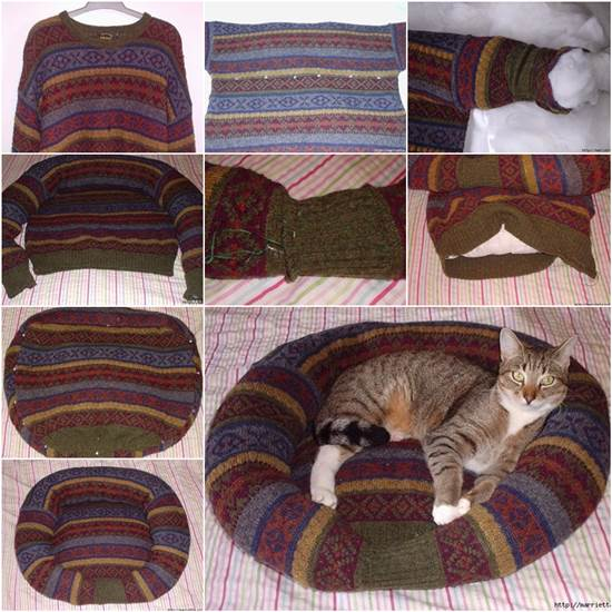 Pet-Bed-from-Old-Sweater