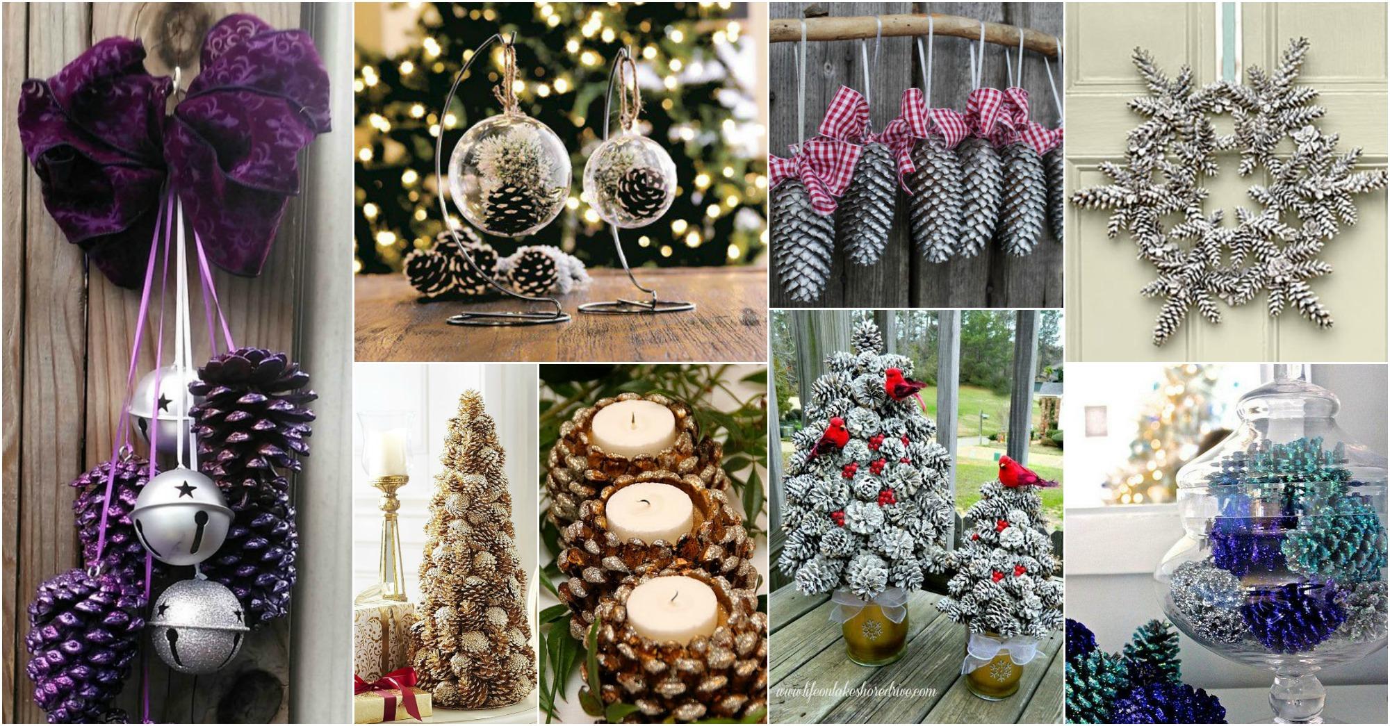 15 impressionantes artesan as navide as con conos de pino - Decoracion navidena con pinas ...